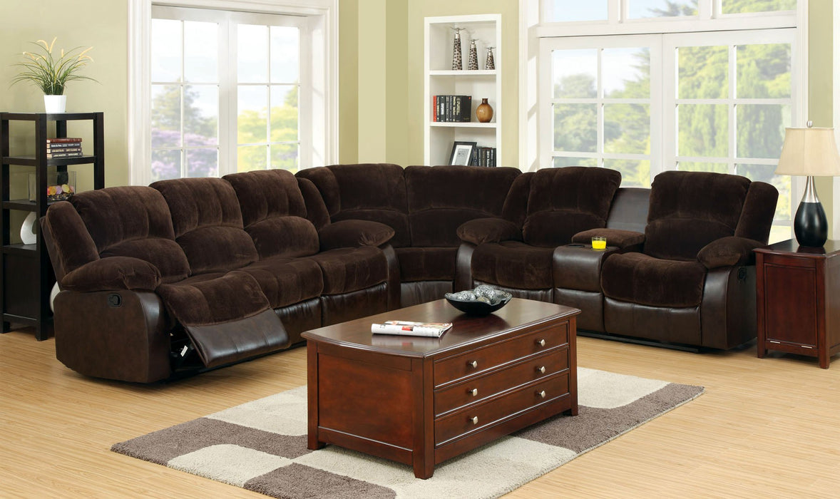 Winchester Brown Transitional Champion Leatherette Sectional
