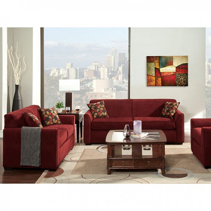 Winlove Fabric Red Transitional Sofa