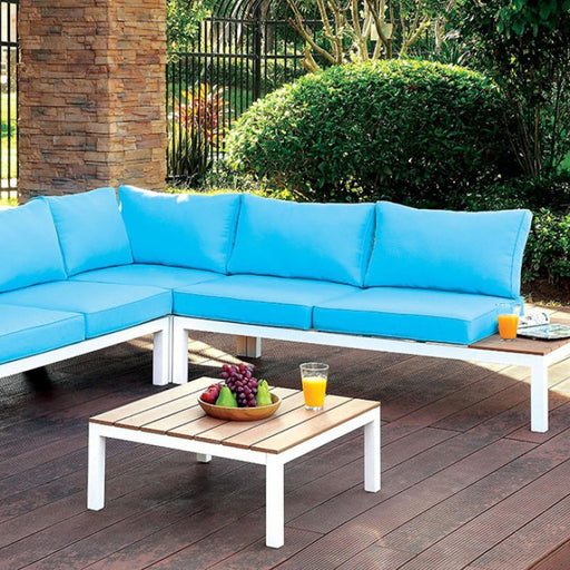 Winona Blue Patio Sectional With Ottoman