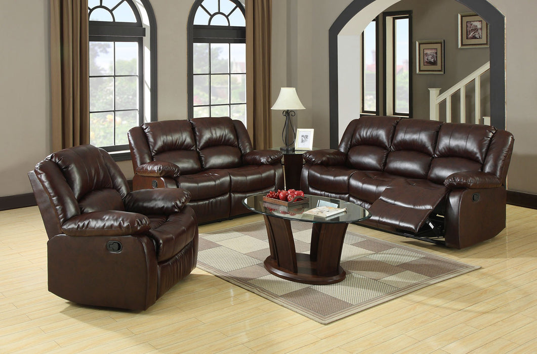 Winslow Bonded Leather Match Dark Brown Transitional Sofa