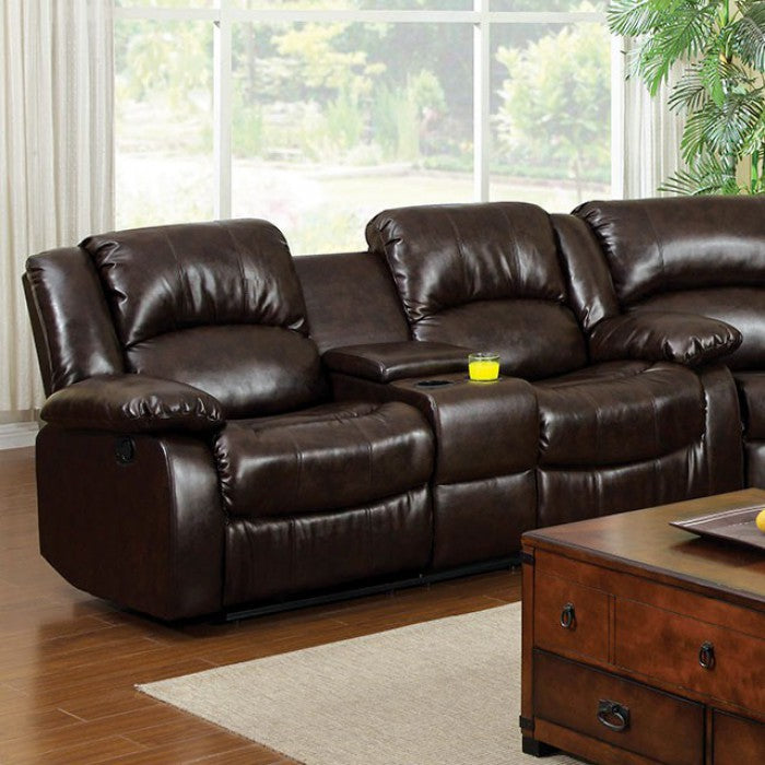 Winslow Leather Dark Brown Transitional Love Seat W/ Center Console