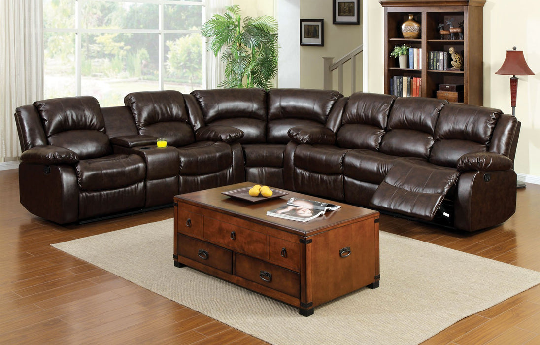 Winslow Rustic Brown Transitional Recliners Leather Sectional