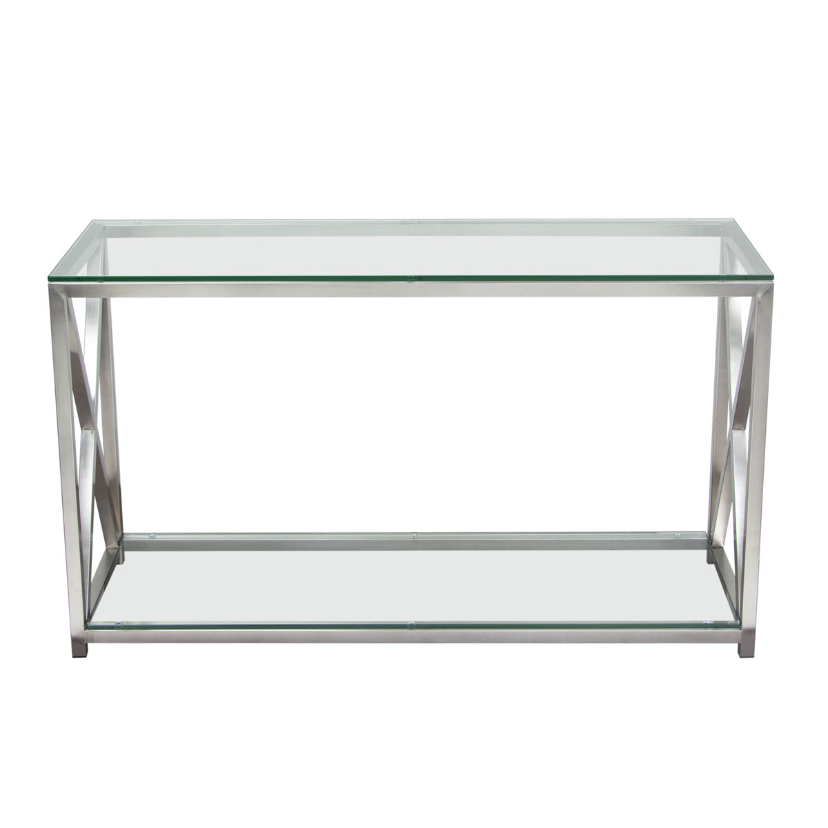 X Factor Console Table With Clear Glass Top And Shelf With Brushed  Stainless Steel Frame   Stainless Steel U2014 Sofa Shack