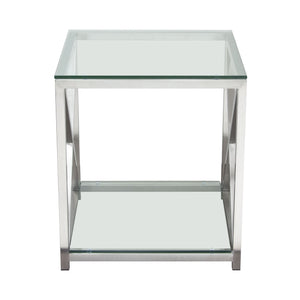 X-Factor End Table with Clear Glass Top and Shelf with Brushed Stainless Steel Frame - Stainless Steel