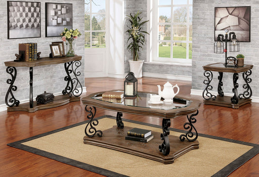 Yesenia Glass Rustic Natural Tone Traditional End Table