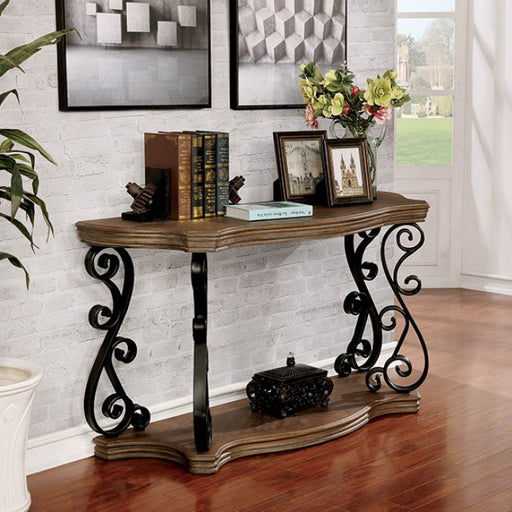 Yesenia Glass Rustic Natural Tone Traditional Sofa Table