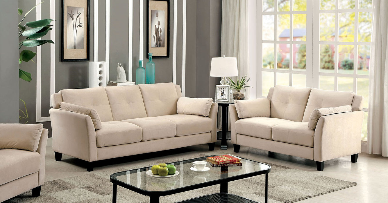 Ysabel Flannelette Beige Contemporary Sofa