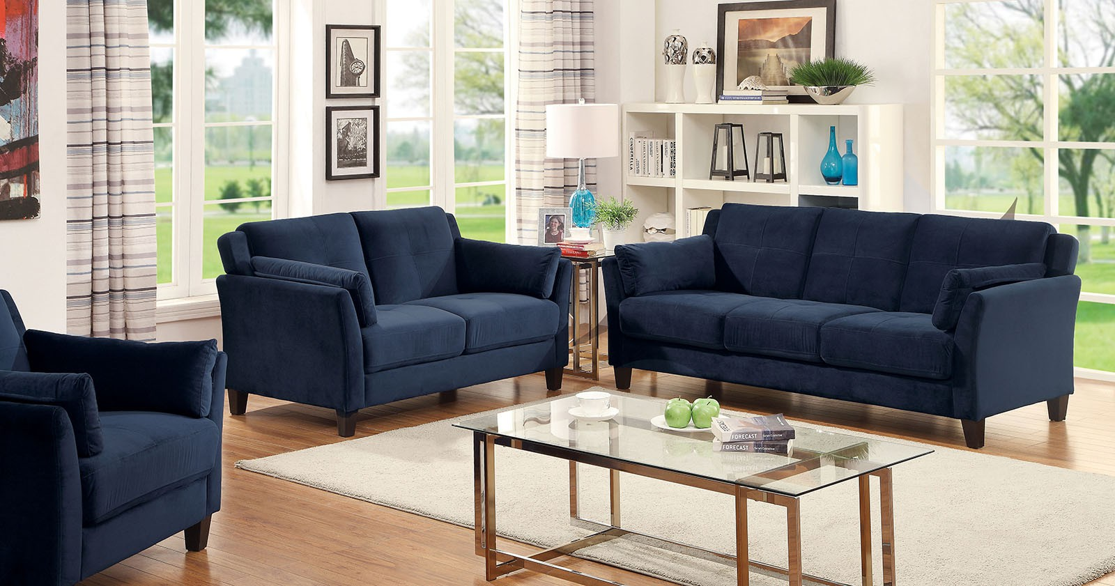 Ysabel Flannelette Navy Contemporary Sofa