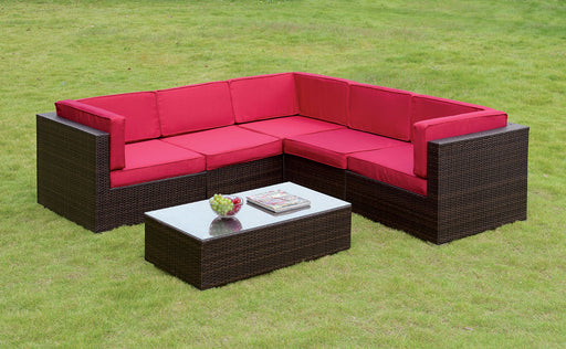 Zendaya Red Patio Sectional With Coffee Table
