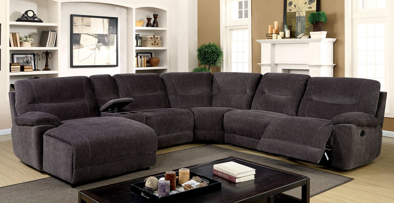 Zuben Gray Transitional Chenille Recliners Sectional