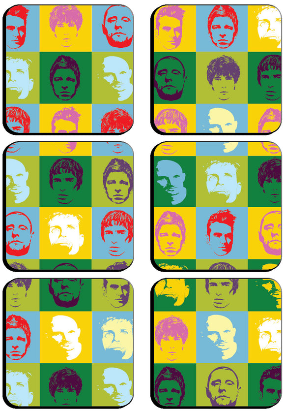 6 x Warhol Manchester Legends Pop Art Square Cup Coasters