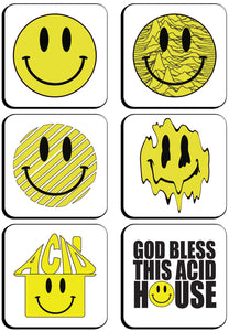 6 x Acid House Square Cup Coasters
