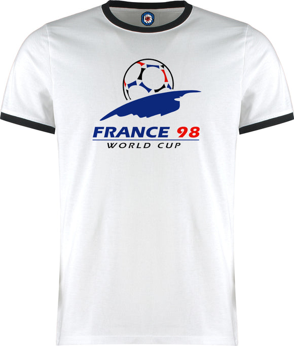 World Cup France 98 1998 Football Soccer Retro Vintage Ringer T-Shirt
