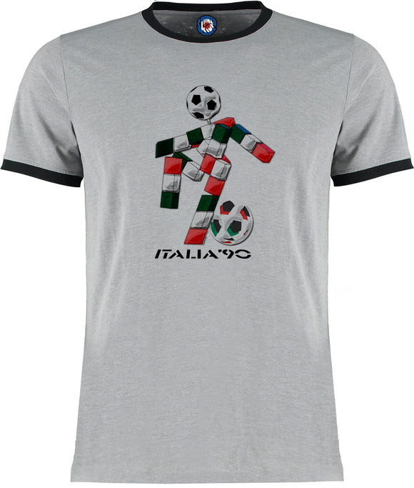 World Cup Italia 1990 Italy 90 Football Soccer Retro Vintage Ringer T-Shirt