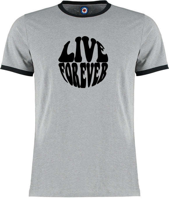 Live Forever Oasis Brit Pop Quality Ringer T-Shirt - 5 Colours