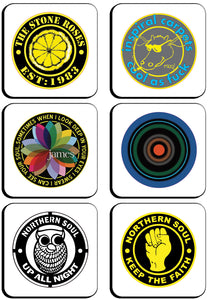 6 x Manchester Band & Northern Soul Badges Square Cup Coasters