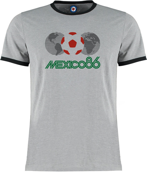 World Cup Mexico 1986 Football Soccer Retro Vintage Ringer T-Shirt