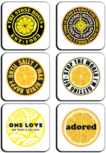 6 x Stone Roses Badges Square Cup Coasters