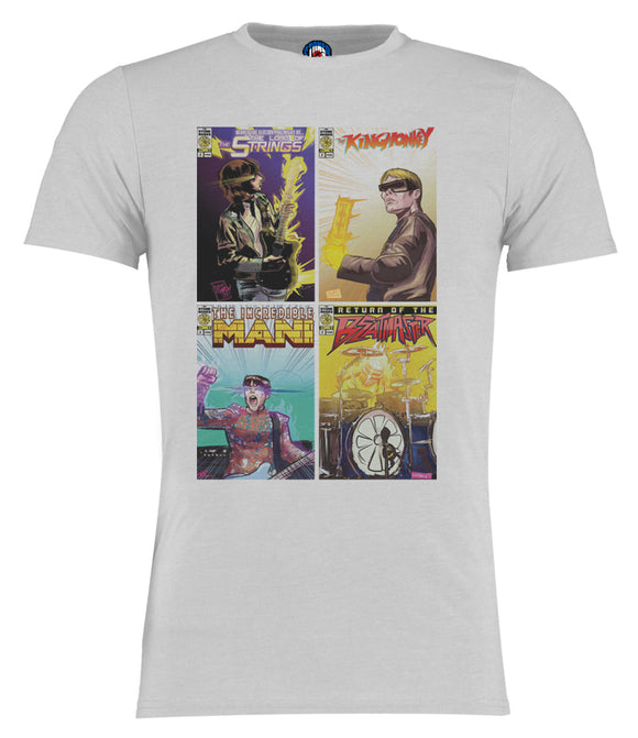 Stone Roses Super Hero Comic Book Style T-Shirt