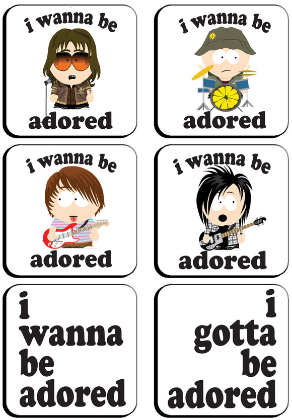 6 x I Wanna Be Adored Stone Roses South Park Style Square Cup Coasters