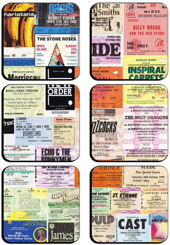 I was There Famous Gigs Ticket Square 6 x Cup Coasters