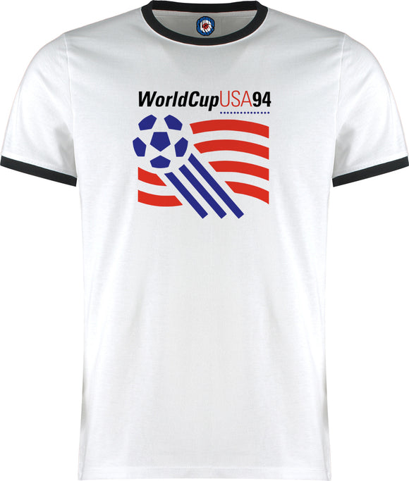 World Cup USA 94 1994 Football Soccer Retro Vintage Ringer T-Shirt