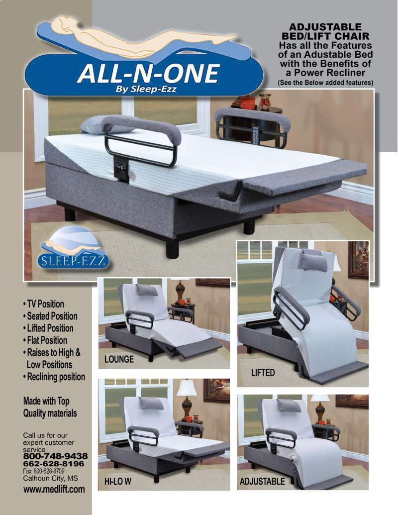 Sit-N-Sleep Adjustable Bed/Lift Chair