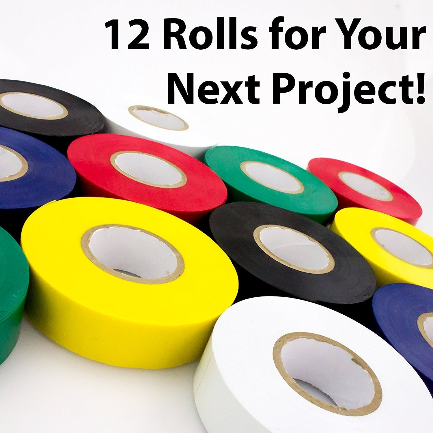 Weather Resistant Colored Electrical Tape 60 Jumbo Roll 12 Pack By Nova Supply.