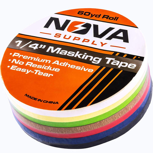 Premium 7 Color Value Pack of 1/4in x 60yd Adhesive Masking Tape. Use in Arts and Crafts Projects, Painting, Labeling or for Home and Classroom Decorating. Organize and Color Code Folders and Boxes.