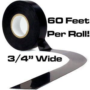 Nova Supply's Pro Grade Black Electrical Tape Jumbo Roll 10 Pack. Huge 60 Foot Rolls Of 3/4 Inch PVC Vinyl With Ultra Weather-Resistant Adhesive. Withstands High Heat for Electrician/Automotive Use