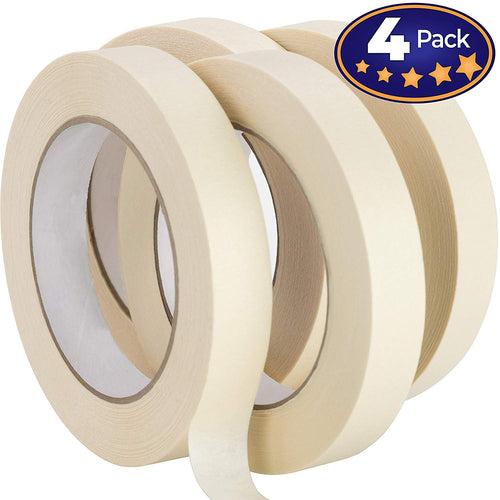 Nova Supply 3/4 in Pro-Grade Masking Tape. 60 Yard Roll 4 Pack = 240 Yards of Multi-Use, Easy Tear Tape. Great for Labeling, Painting, Packing and More. Adhesive Leaves No Residue.