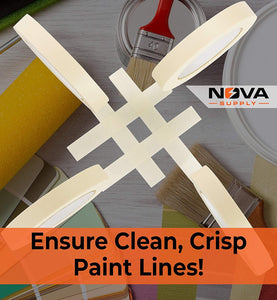 Nova Supply 3/4 in Pro-Grade Masking Tape. 60 Yard Roll 12 Pack = 720 Yards of Multi-Use, Easy Tear Tape. Great for Labeling, Painting, Packing and More. Adhesive Leaves No Residue.