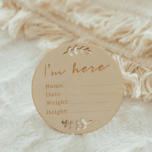 "Newborn ""I'm Here"" Announcement Sign"