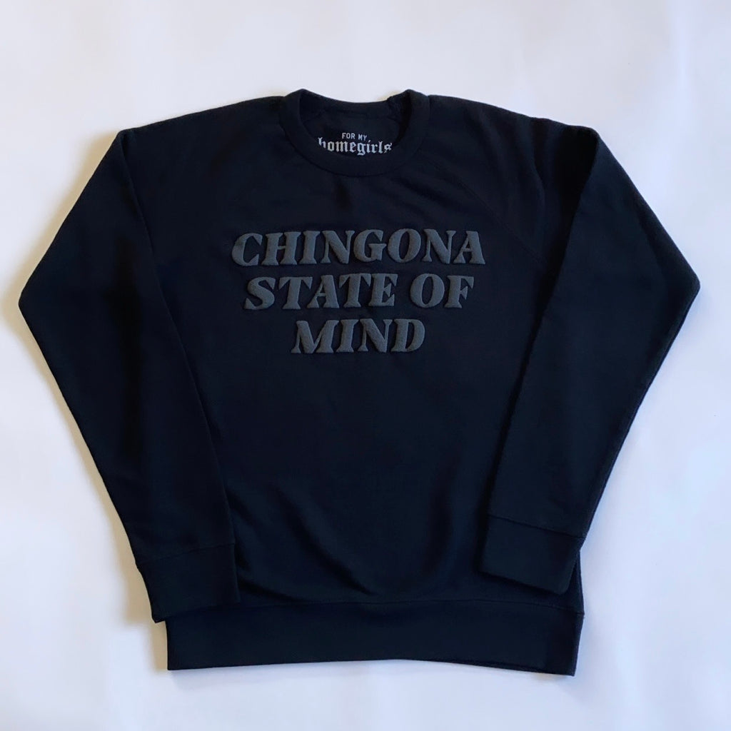 Black French Terry Chingona State of Mind Sweatshirt (Unisex Crewneck)