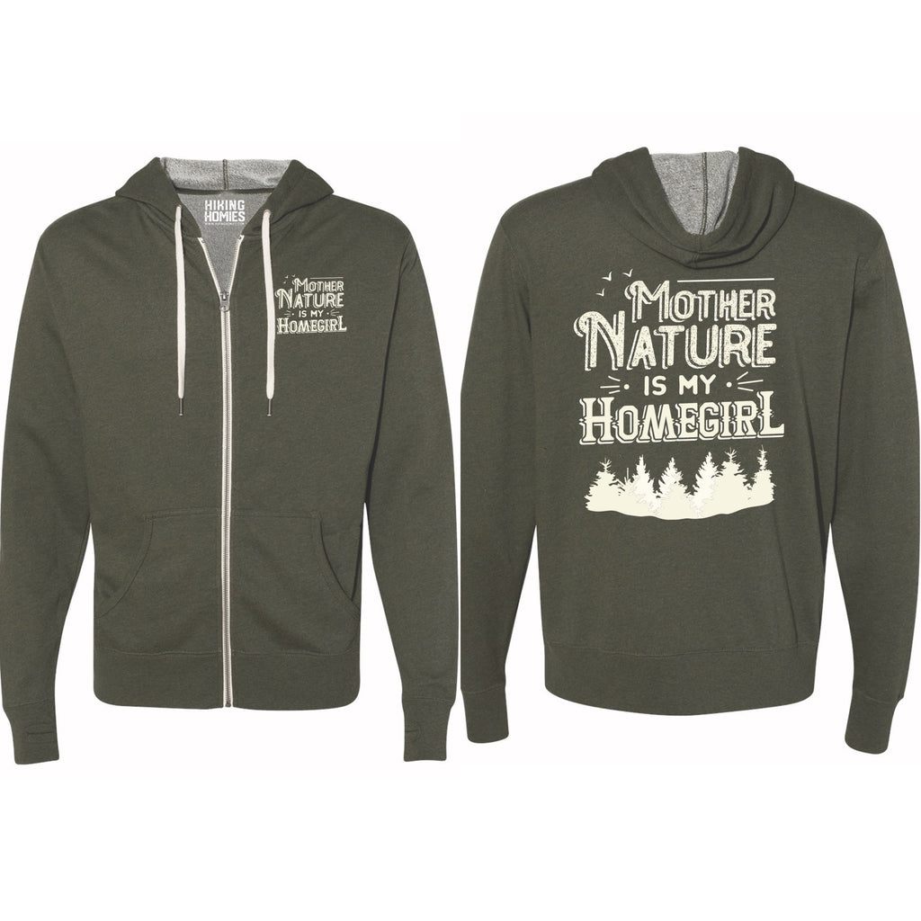 Olive Heather Mother Nature is My Homegirl (Unisex Zip-Up Sweatshirt)