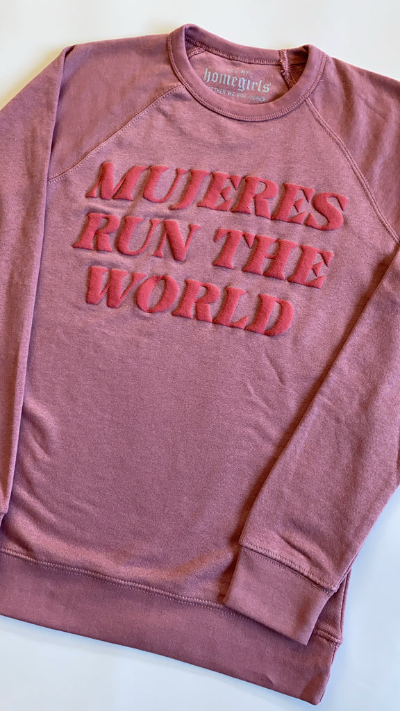 Mauve French Tery Mujeres Run The World Sweatshirt (Unisex Crewneck)