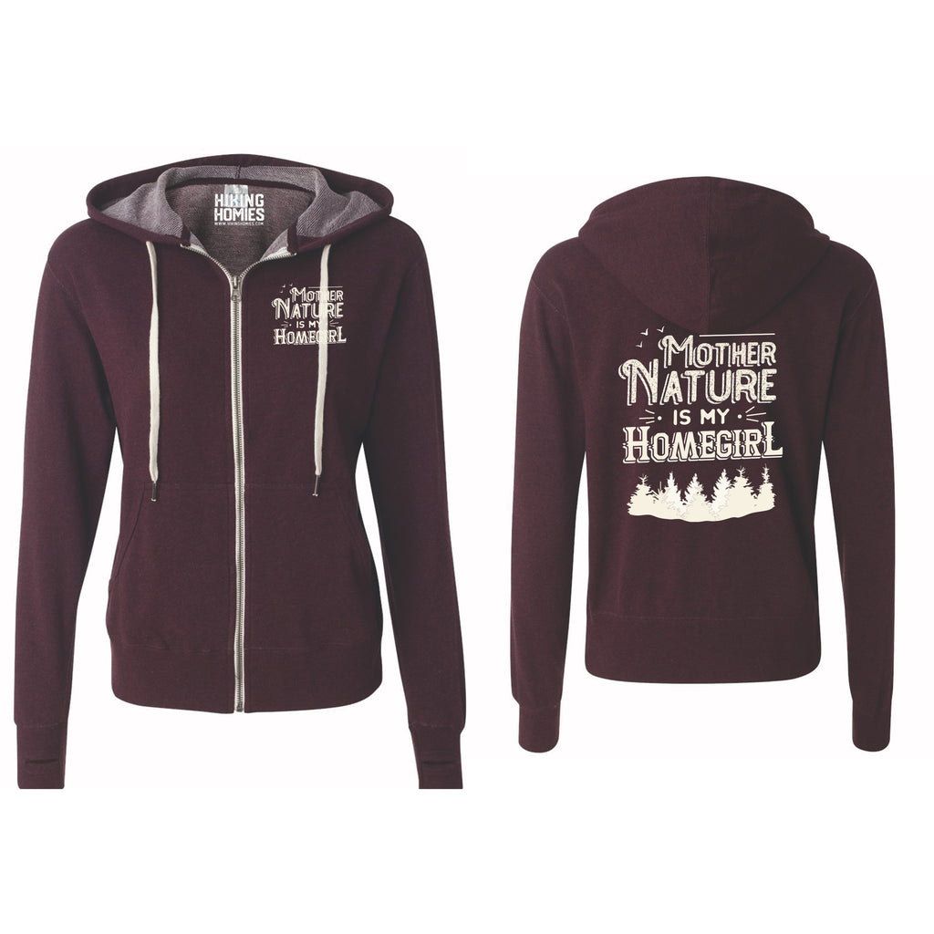 Burgundy Heather Mother Nature is My Homegirl (Unisex Zip-Up Sweatshirt)