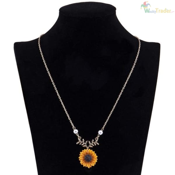 Beautiful Sunflower Pendant/Charm Necklace For Women with Imitation Pearls. Look Classy for Less at Wackytrader.com! - GOLD - Womens Jewelry