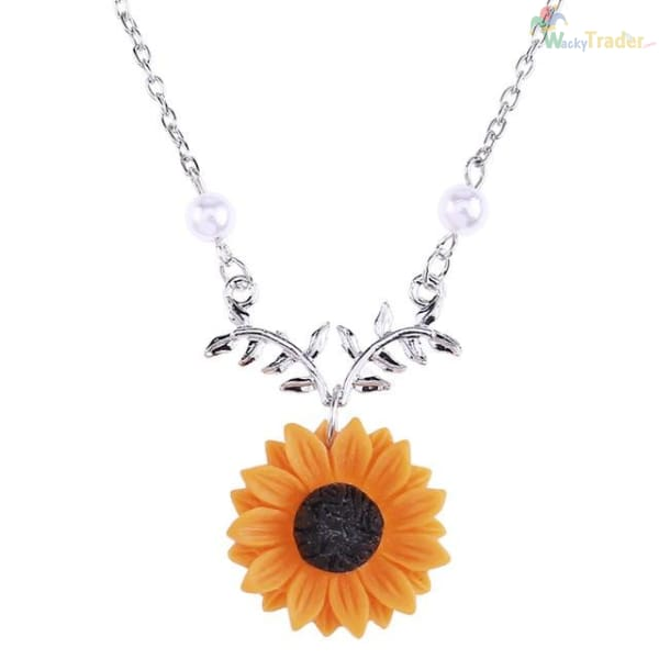 Beautiful Sunflower Pendant/Charm Necklace For Women with Imitation Pearls. Look Classy for Less at Wackytrader.com! - SILVER - Womens