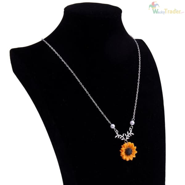 Beautiful Sunflower Pendant/Charm Necklace For Women with Imitation Pearls. Look Classy for Less at Wackytrader.com! - Womens Jewelry