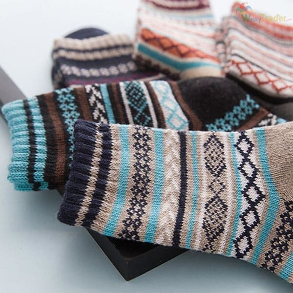 Warm Colorful and Thick Winter Wool Socks - Your Feet Will Look Good While Staying Warm and Toasty! - Assorted / 2 - Clothing
