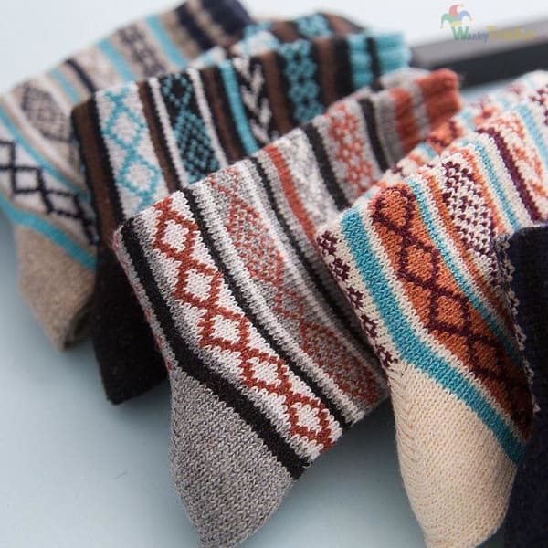Warm Colorful and Thick Winter Wool Socks - Your Feet Will Look Good While Staying Warm and Toasty! - Assorted / 3 - Clothing