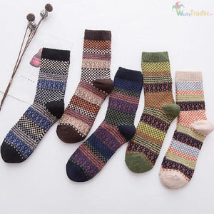 Warm Colorful and Thick Winter Wool Socks - Your Feet Will Look Good While Staying Warm and Toasty! - Assorted / 5 - Clothing