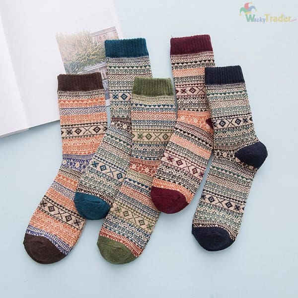 Warm Colorful and Thick Winter Wool Socks - Your Feet Will Look Good While Staying Warm and Toasty! - Clothing