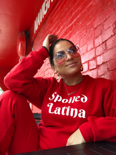 SpoiledLatina Crewneck Sweater in red and black