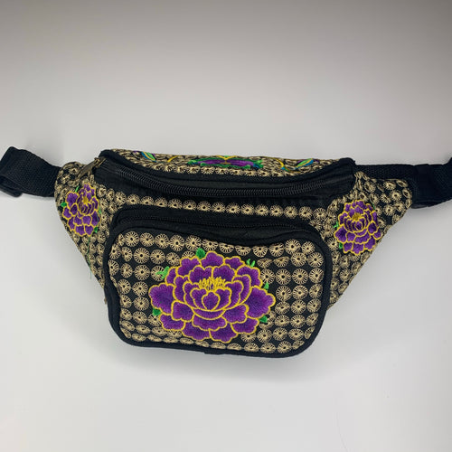 Purple floral fanny pack