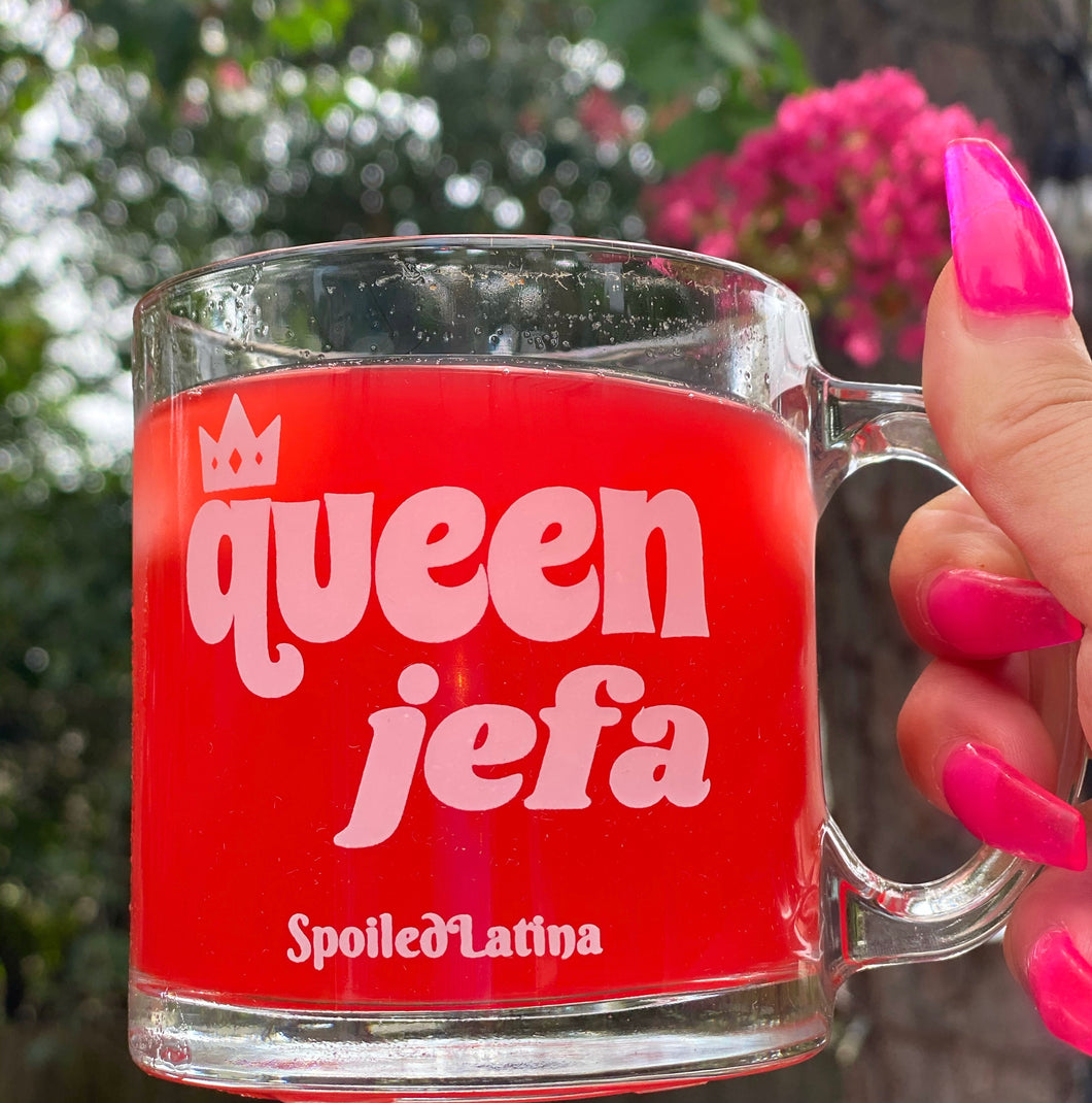 SpoiledLatina Queen Jefa glass mug -