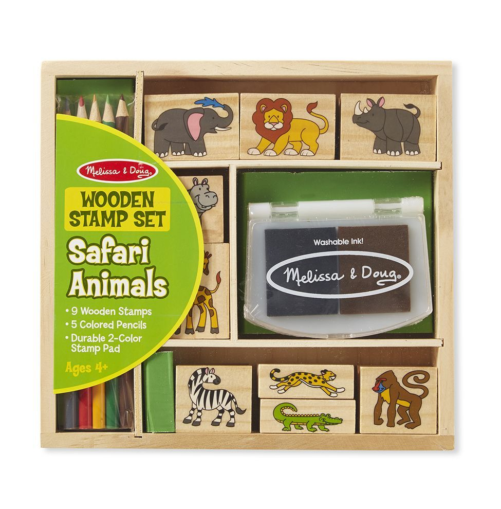 Melissa Doug Wooden Stamp Set - Safari Animals 8786