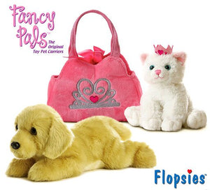 "Aurora Flopsie Goldie 12"" and Fancy Pals Princess Kitten High Quality Plush (2 Items Included)"