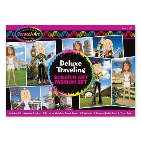 Image of Melissa & Doug Deluxe World Tour Scratch Art Set